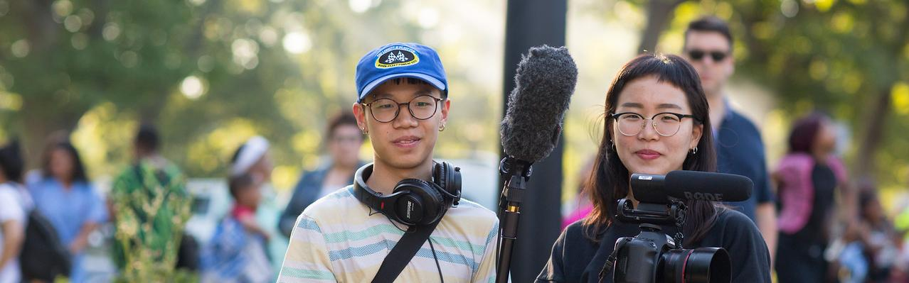 film students with equipment
